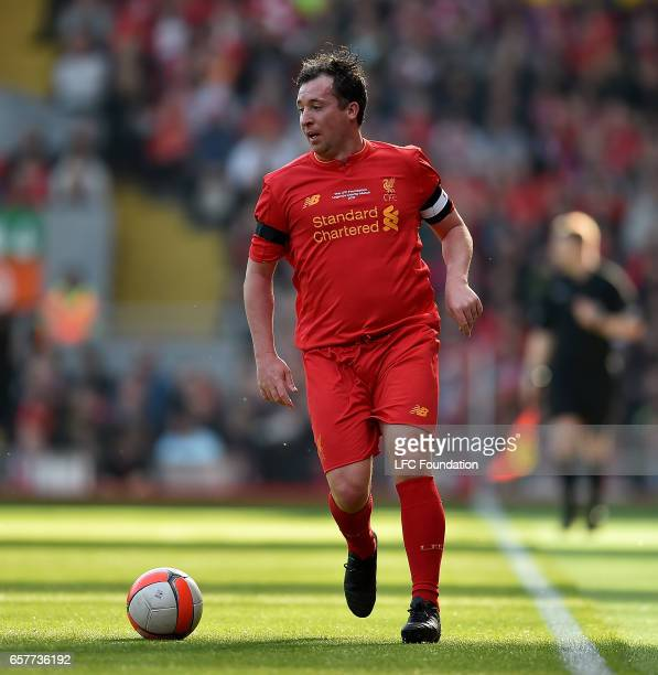 Robbie Fowler of Liverpool Legends during the LFC Foundation Charity Match between Liverpool Legends and Real Madrid Legends at Anfield on March 25...