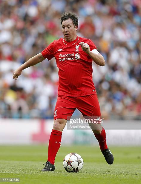 Robbie Fowler of Liverpool Legends in action during the Corazon Classic charity match between Real Madrid Leyendas and Liverpool Legends at Estadio...