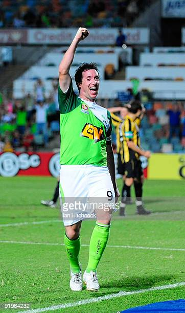 Robbie Fowler of the Fury celebrates after scoring the equalising goal during the round 11 Aleague match between the North Queensland Fury and the...