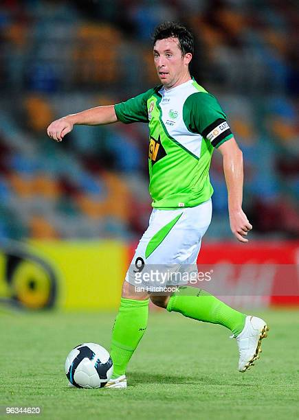 Robbie Fowler of the Fury runs with the ball during the round 25 ALeague match between North Queensland Fury and the Newcastle Jets at Dairy Farmers...