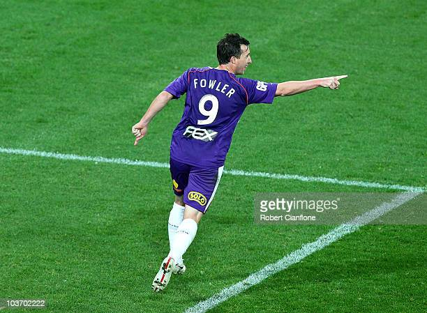Robbie Fowler of the Glory celebrates scoring his penalty during the round four ALeague match between the Melbourne Heart and the Perth Glory at AAMI...