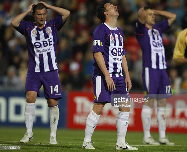 Robbie Fowler of the Glory reacts after a missed shot on goal during the round seven ALeague match between the Newcastle Jets and the Perth Glory at...