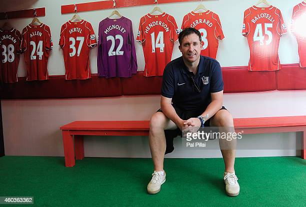 Robbie Fowler poses for a photograph inside the Liverpool FC tent during the Barclays Premier League 'Live' event on December 12 2014 in Mumbai India