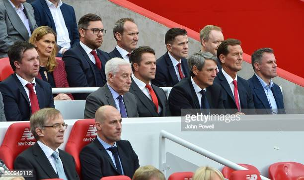 Robbie Fowler Roy Evans Michael Owen Alan Hansen Gary Gillespie and James Carragher during the Kenny Dalglish Stand unveiling on October 13 2017 in...