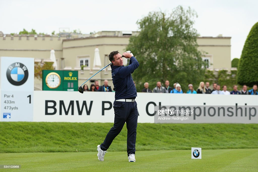 <a gi-track='captionPersonalityLinkClicked' href=/galleries/search?phrase=Robbie+Fowler&family=editorial&specificpeople=206154 ng-click='$event.stopPropagation()'>Robbie Fowler</a> tees off during the Pro-Am prior to the BMW PGA Championship at Wentworth on May 25, 2016 in Virginia Water, England.