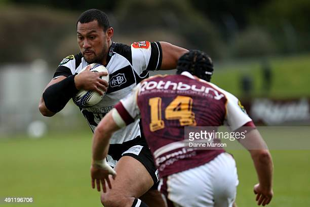Robbie Fruean makes a break during the round eight ITM Cup match between Southland and Hawkes Bay at Rugby Park Stadium on October 4 2015 in...
