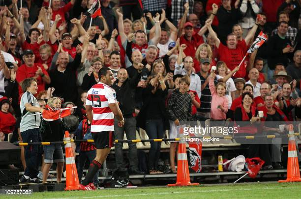 Robbie Fruean of the Crusaders celebrates with the crowd after scoring a try during the round three Super Rugby match between the Crusaders and the...