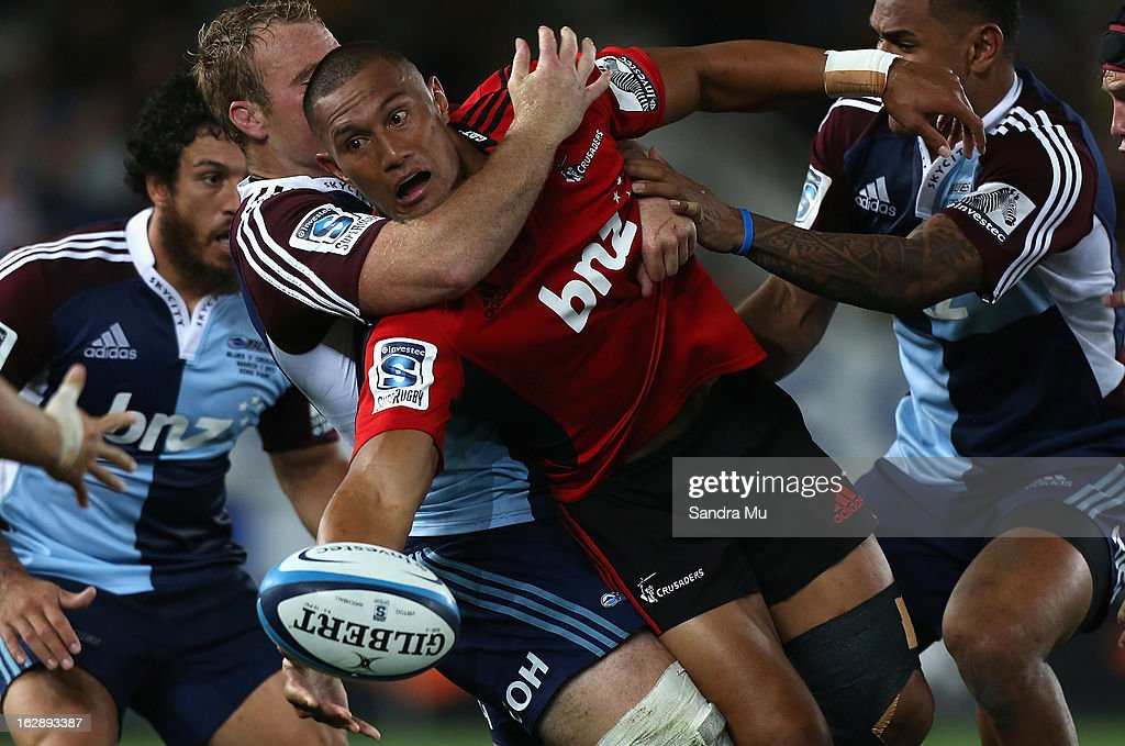 <a gi-track='captionPersonalityLinkClicked' href=/galleries/search?phrase=Robbie+Fruean&family=editorial&specificpeople=6827665 ng-click='$event.stopPropagation()'>Robbie Fruean</a> of the Crusaders off loads the ball during the round 3 Super Rugby match between the Blues and the Crusaders at Eden Park on March 1, 2013 in Auckland, New Zealand.