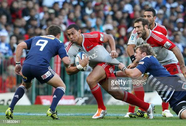 Robbie Fruean of the Crusaders tries to break through the Stormers defence during the Vodacom Super Rugby match between Western Stormers and...