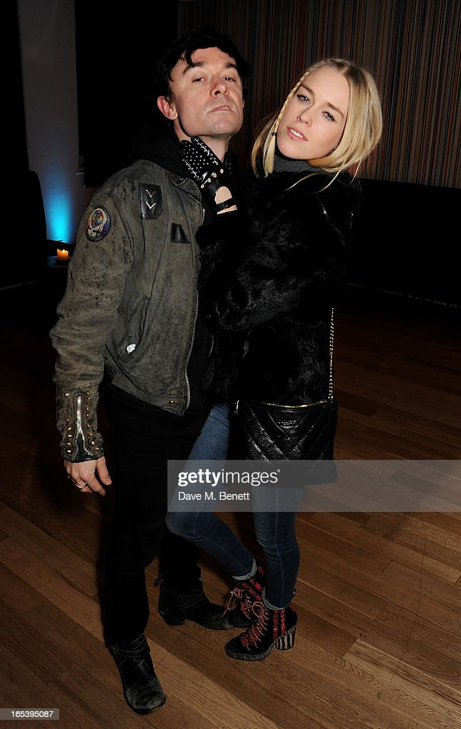 Robbie Furze (L) and Mary Charteris attend event planner Paul Rowe's 40th birthday party at The Groucho Club on April 3, 2013 in London, England.