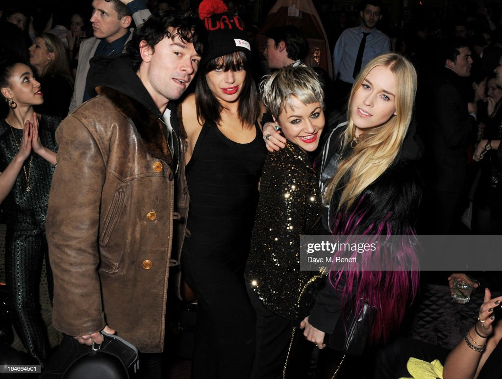 Robbie Furze, Willa Keswick, Jaime Winstone and Mary Charteris attend the ABSOLUT Elyx launch party at The Box Soho on March 26, 2013 in London, England.