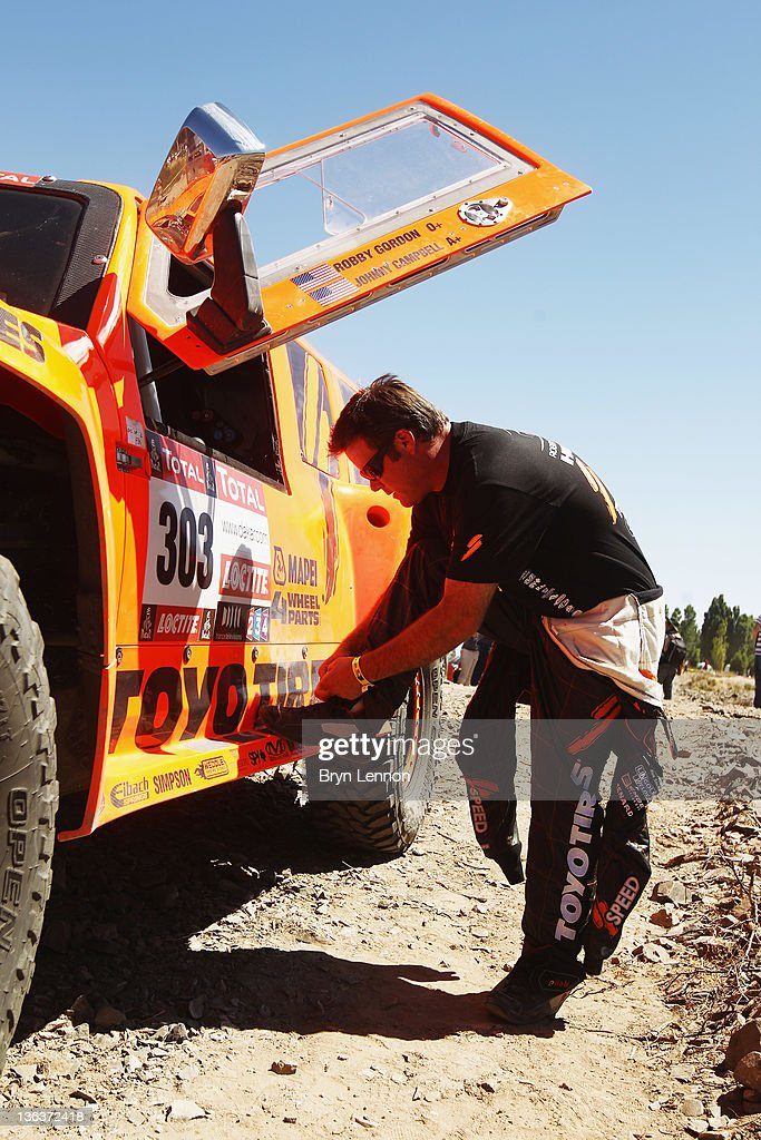 Robbie Gordon of the USA prepares to start of stage three of the 2012 Dakar Rally from San Rafael to San Juan on January 3 2012 in San Juan Argentina