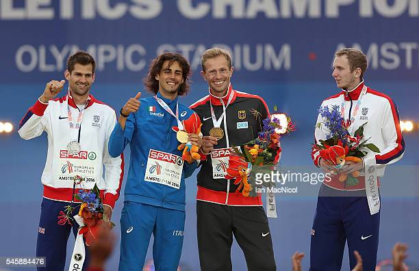 Robbie Grabarz of Great Britain Gianmarco Tamberi of Italy Onnen Eike of Germany and Chris Baker of Great Britain celebrate on the podium after...