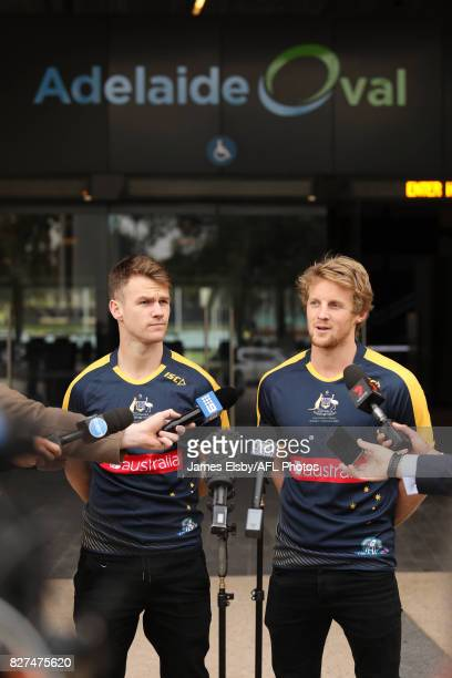 Robbie Gray of the Power and Rory Sloane of the Crows during the media conference to confirm match dates in Adelaide and Perth respectively for the...