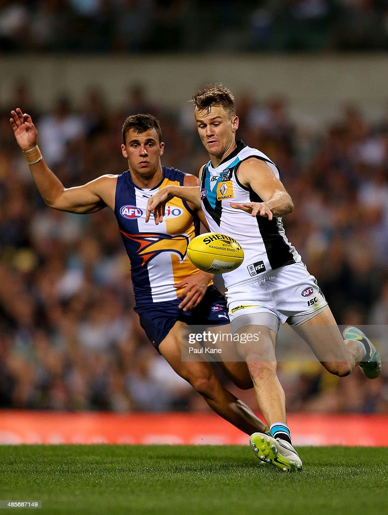 Robbie Gray of the Power passes the ball during the round five AFL match between the West Coast Eagles and the Port Power at Patersons Stadium on April 19, 2014 in Perth, Australia.