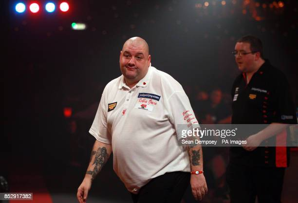 Robbie Green in his match against Stephen Bunton during the BDO World Championships at the Lakeside Complex Surrey