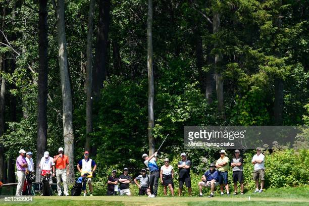 Robbie Greenwell of Canada hits a tee from the third hole during the final round of the Mackenzie Investments Open at Club de Golf Les Quatre...