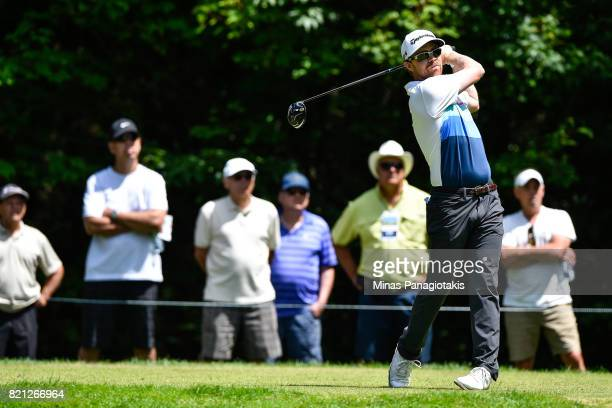 Robbie Greenwell of Canada hits a tee shot on the fifth hole during the final round of the Mackenzie Investments Open at Club de Golf Les Quatre...
