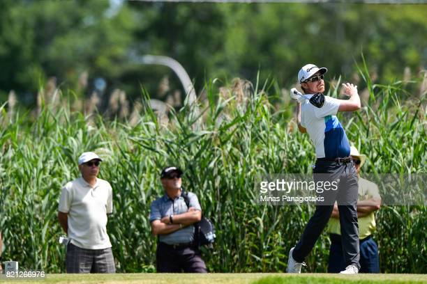Robbie Greenwell of Canada hits a tee shot on the fourth hole during the final round of the Mackenzie Investments Open at Club de Golf Les Quatre...