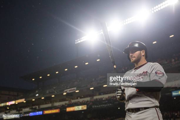 Robbie Grossman of the Minnesota Twins looks on against the Baltimore Orioles on May 23 2017 at Oriole Park at Camden Yards in Baltimore Maryland The...