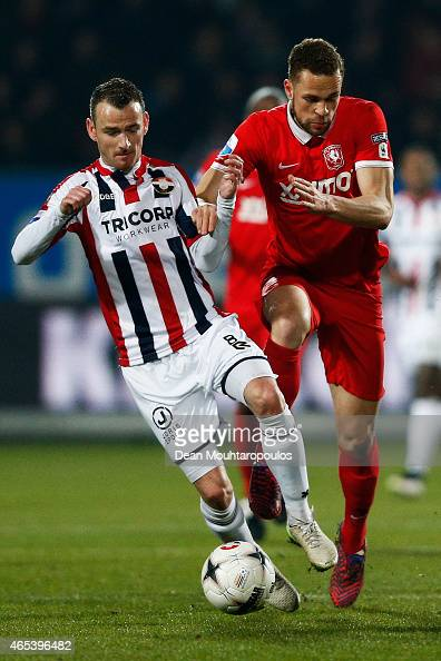 Robbie Haemhouts of Willem II and Luc Castaignos of Twente battle for the ball during the Dutch Eredivisie match between Willem II Tilburg and FC...