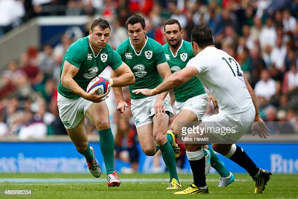 Robbie Henshaw of Ireland charges forward during the QBE International match between England and Ireland at Twickenham Stadium on September 5 2015 in...