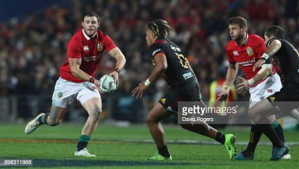 Robbie Henshaw of the Lions runs with the ball during the match between the Chiefs and the British Irish Lions at Waikato Stadium on June 20 2017 in...