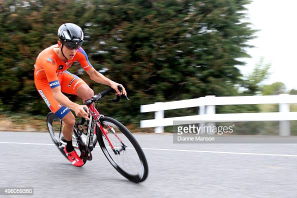 Robbie Hucker of Australia competes in the time trial round Winton during stage 6 of the Tour of Southland on November 7 2015 in Invercargill New...