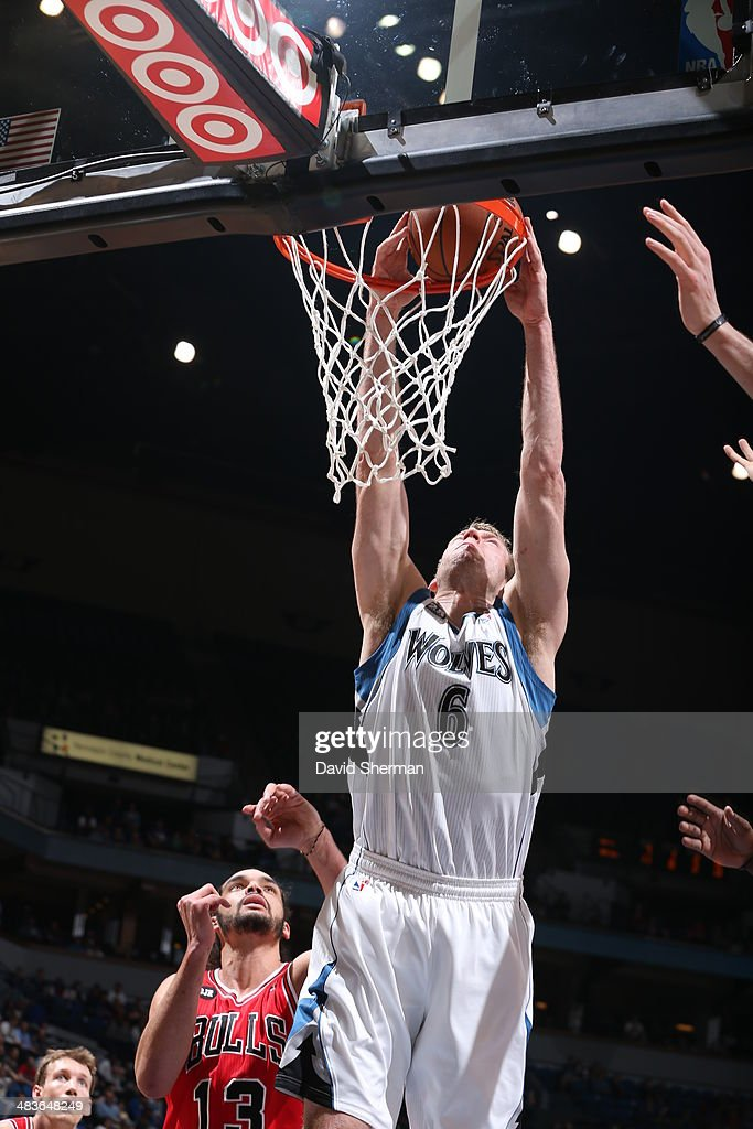 Robbie Hummel #6 of the Minnesota Timberwolves goes up for the dunk against the Chicago Bulls during the game on April 9, 2014 at Target Center in Minneapolis, Minnesota.