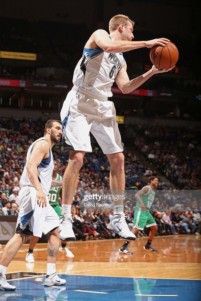 Robbie Hummel #6 of the Minnesota Timberwolves grabs a rebound against the Boston Celtics on November 16, 2013 at Target Center in Minneapolis, Minnesota.