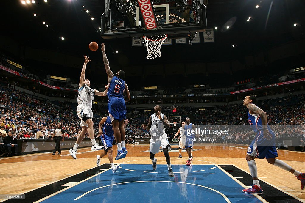 <a gi-track='captionPersonalityLinkClicked' href=/galleries/search?phrase=Robbie+Hummel&family=editorial&specificpeople=4877478 ng-click='$event.stopPropagation()'>Robbie Hummel</a> #6 of the Minnesota Timberwolves takes a shot against the Los Angeles Clippers on March 31, 2014 at Target Center in Minneapolis, Minnesota.