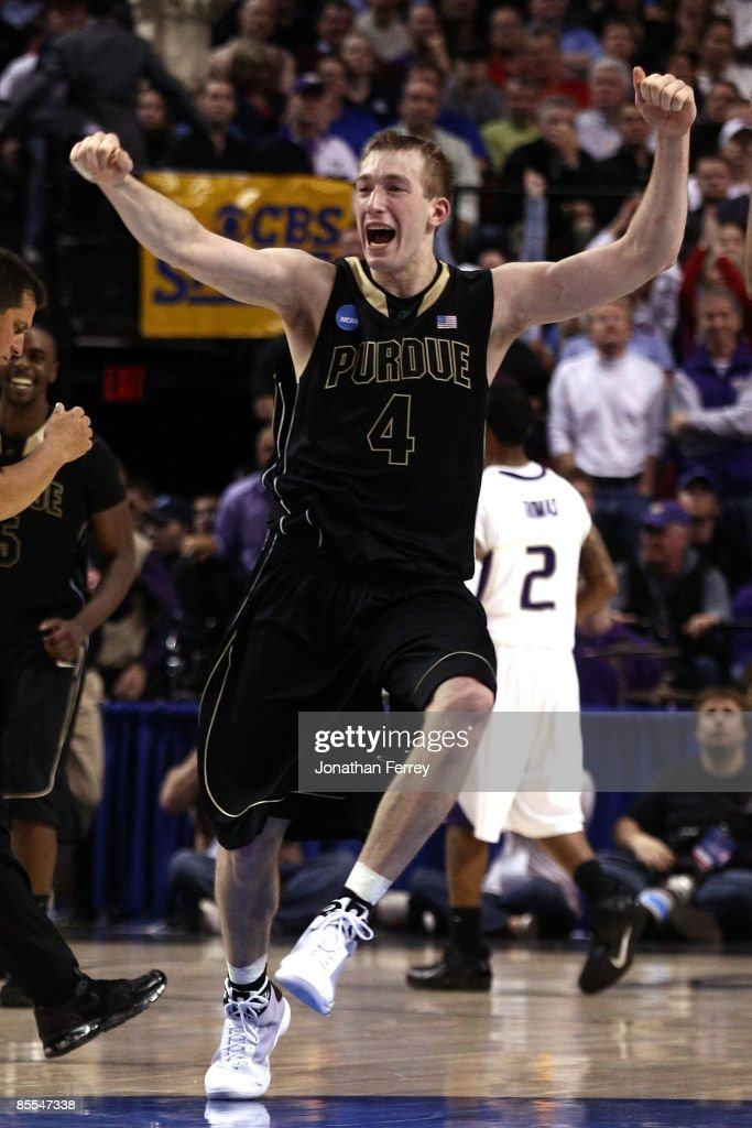 Robbie Hummel of the Purdue Boilermakers celebrates after defeating the Washington Huskies during the second round of the NCAA Division I Men's...