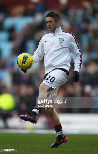 Robbie Keane of Aston Villa warms up before the Barclays Premier League match between Aston Villa and Everton at Villa Park on January 14 2012 in...
