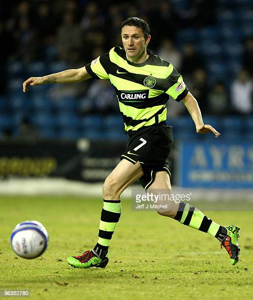 Robbie Keane of Celtic in action during the Clydesdale Bank Scottish Premier League match between Kilmarnock and Celtic at Rugby Park on February 2...