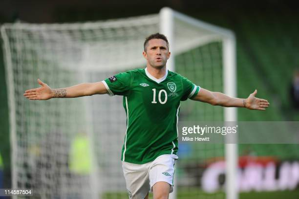 Robbie Keane of Ireland celebrates after scoring during the Carling Nations Cup match between Republic of Ireland and Northern Ireland at Aviva...