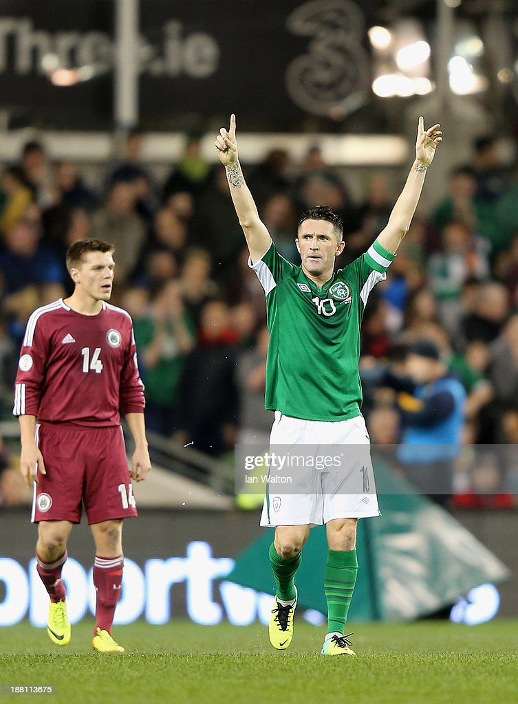 <a gi-track='captionPersonalityLinkClicked' href=/galleries/search?phrase=Robbie+Keane&family=editorial&specificpeople=171824 ng-click='$event.stopPropagation()'>Robbie Keane</a> of Ireland celebrates scoring a goal during the International Friendly match between Republic of Ireland and Latvia at Aviva Stadium on November 15, 2013 in Dublin, Ireland.