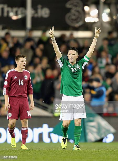 Robbie Keane of Ireland celebrates scoring a goal during the International Friendly match between Republic of Ireland and Latvia at Aviva Stadium on...