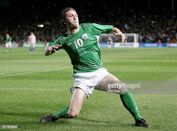Robbie Keane of Ireland celebrates scoring during the Friendly match between Ireland and Croatia at Landsdowne Road on November 16 2004 in Dublin...