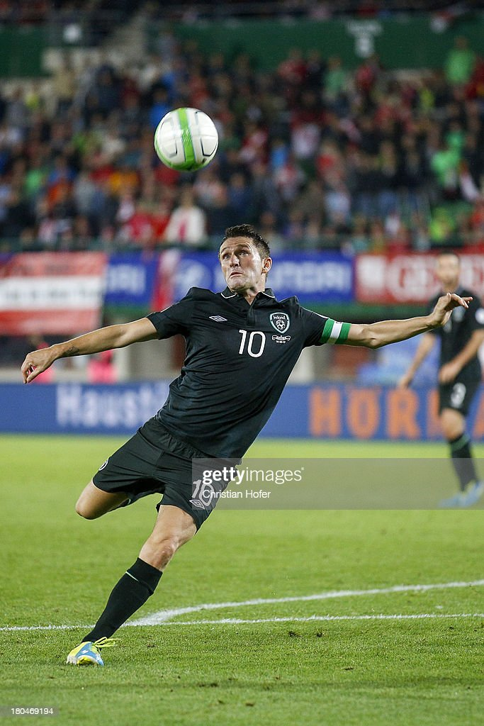 Robbie Keane of Ireland in action during the FIFA World Cup 2014 Group C qualification match between Austria and the Republic of Ireland at the Ernst Happel Stadium on September 10, 2013 in Vienna, Austria.