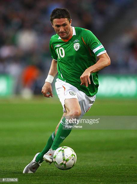 Robbie Keane of Ireland in action during the International Friendly match between Republic of Ireland and Serbia at Croke Park on May 24 2008 in...