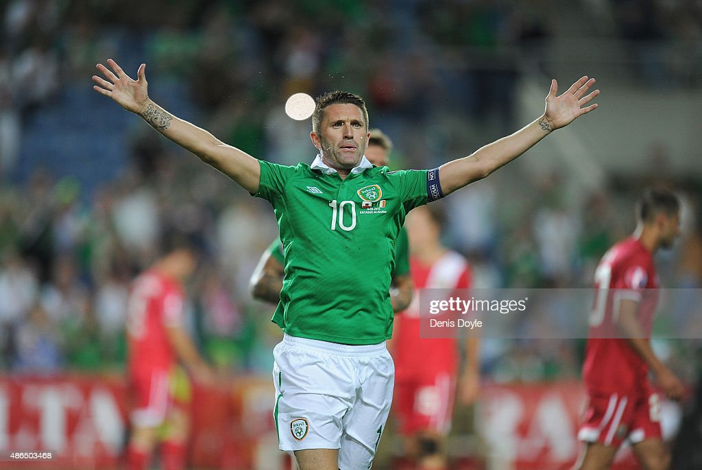Robbie Keane of Republic of Ireland celebrates after scoring Ireland's 3rd goal during the UEFA EURO 2016 Qualifier between Gibraltar and Republic of...