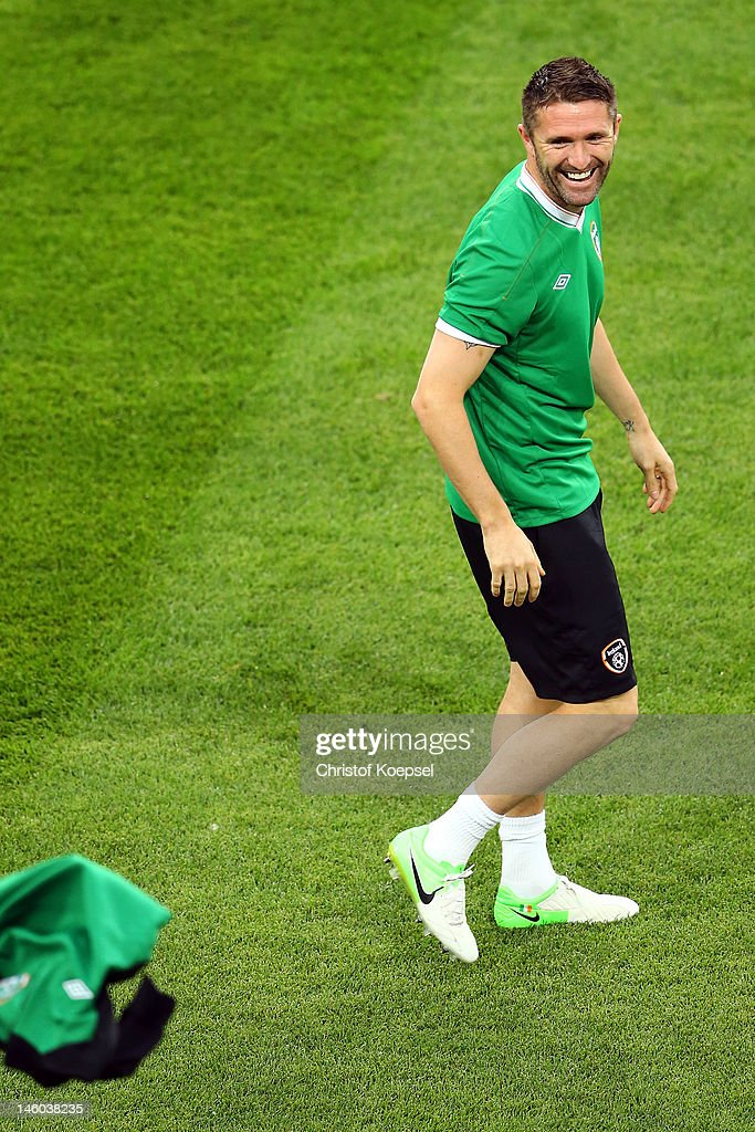 <a gi-track='captionPersonalityLinkClicked' href=/galleries/search?phrase=Robbie+Keane&family=editorial&specificpeople=171824 ng-click='$event.stopPropagation()'>Robbie Keane</a> of Republic of Ireland laughs during a Republic of Ireland training session prior to the UEFA EURO 2012 Group C match against Croatia at the Municipal Stadium Poznan on June 9, 2012 in Poznan, Poland.