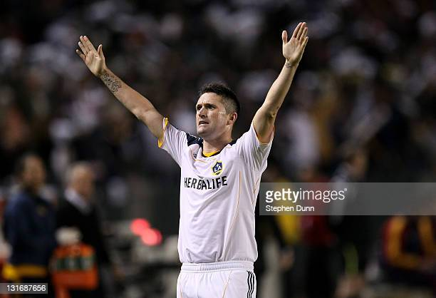 Robbie Keane of the Los Angeles Galaxy celebrates after scoring the Galaxy's third goal against Real Salt Lake in the MLS Western Conference...