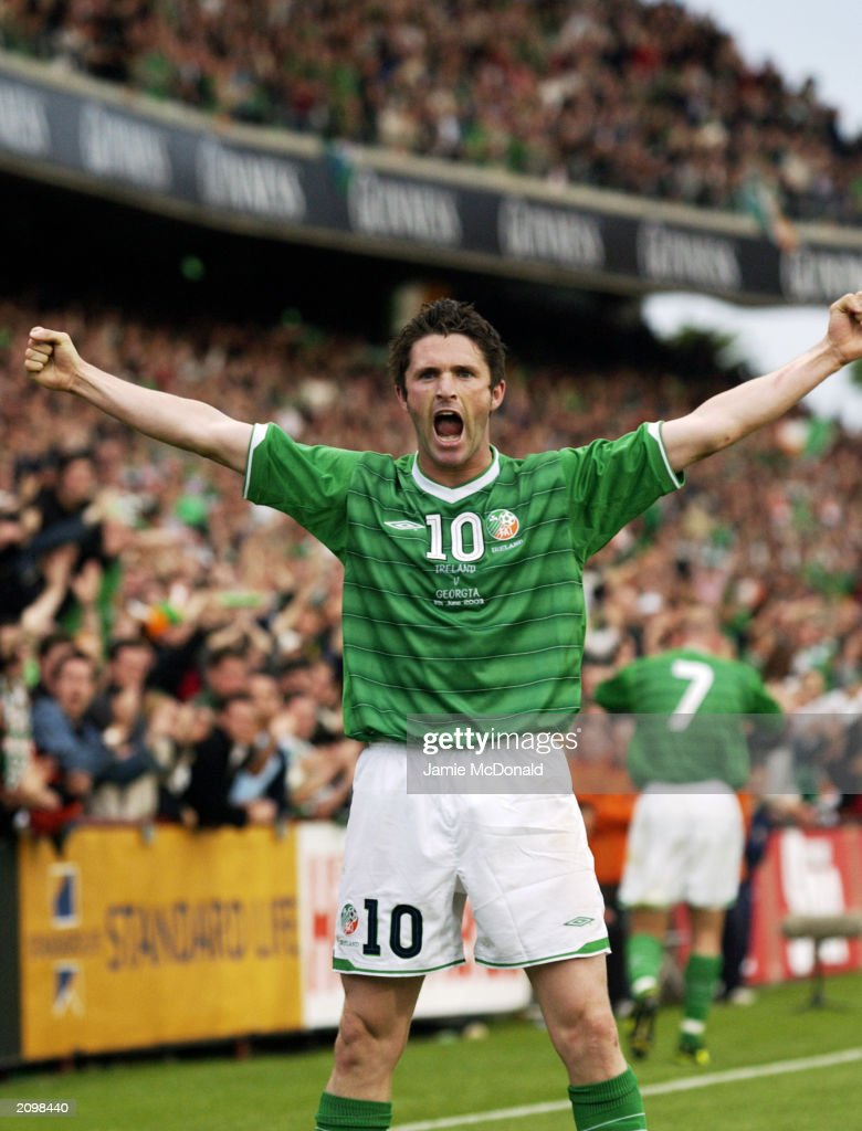 <a gi-track='captionPersonalityLinkClicked' href=/galleries/search?phrase=Robbie+Keane&family=editorial&specificpeople=171824 ng-click='$event.stopPropagation()'>Robbie Keane</a> of the Republic of Ireland celebrates during the European 2004 Championship Qualifier Group 10 match between Republic of Ireland and Georgia on June 11, 2003 at Lansdowne Road in Dublin, Republic of Ireland. The Republic of Ireland won the match 2-0.