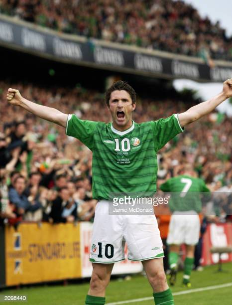 Robbie Keane of the Republic of Ireland celebrates during the European 2004 Championship Qualifier Group 10 match between Republic of Ireland and...
