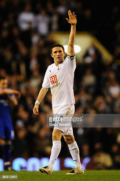 Robbie Keane of Tottenham celebrates scoring his teams fourth goal during the Barclays Premier League match between Tottenham Hotspur and Chelsea at...
