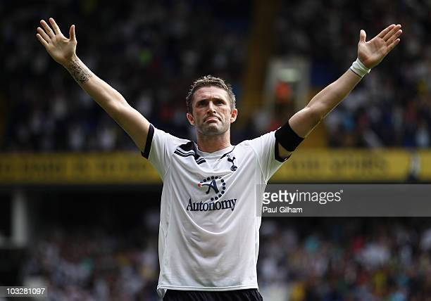 Robbie Keane of Tottenham Hotspur celebrates scoring his second and Tottenham's third goal during the preseason friendly match between Tottenham...