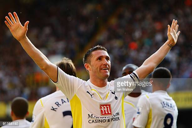 Robbie Keane of Tottenham Hotspur celebrates scoring his third goal during the Barclays Premier League match between Tottenham Hotspur and Burnley at...