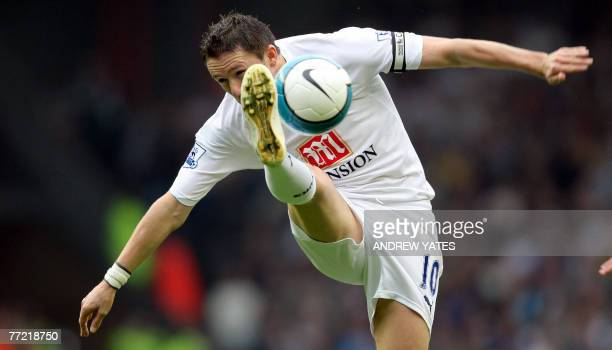 Robbie Keane of Tottenham Hotspur controls the ball during the Premier league football match against Liverpool at Anfield Liverpool07 October 2007...
