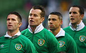 Robbie Keane Shay Given Jonathan Walters and John O'Shea of the Republic of Ireland line up prior to the UEFA EURO 2016 Group D qualifying match...